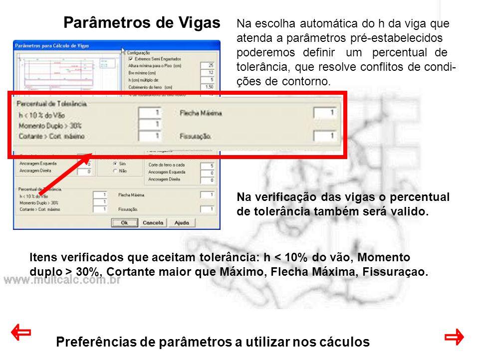 Parâmetros de Vigas Preferências de parâmetros a utilizar nos cáculos