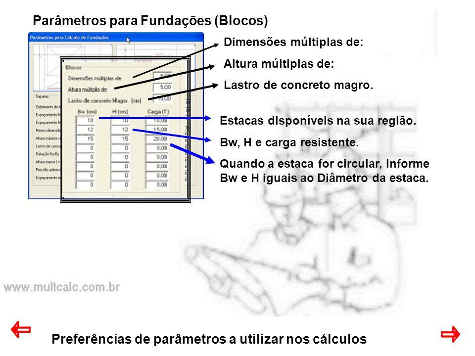 Parâmetros para Fundações (Blocos)