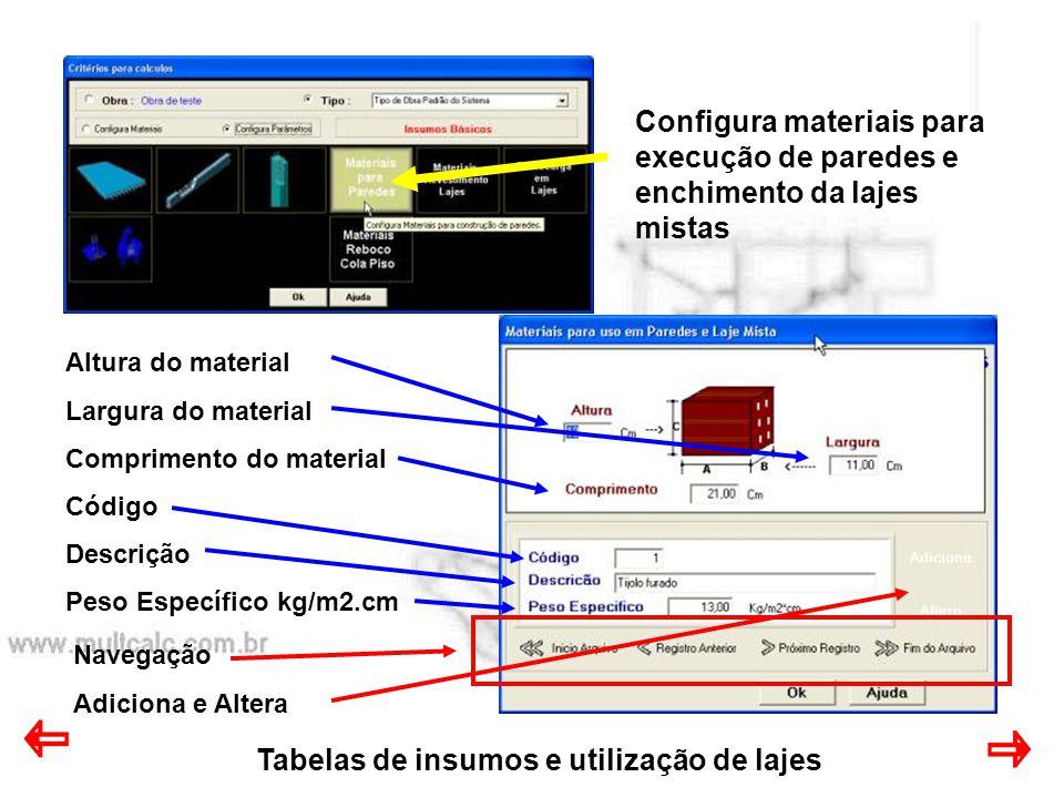 Tabelas de insumos e utilização de lajes