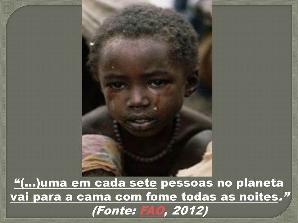 (…)uma em cada sete pessoas no planeta vai para a cama com fome todas as noites. (Fonte: FAO, 2012)