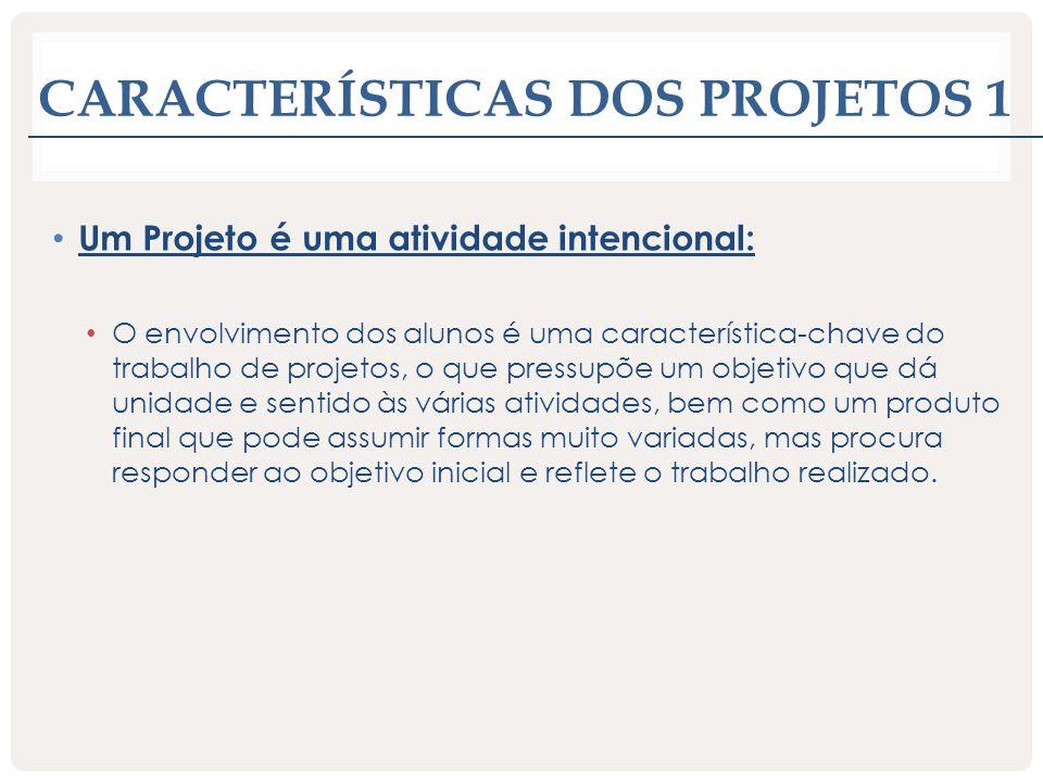 Características dos projetos 1