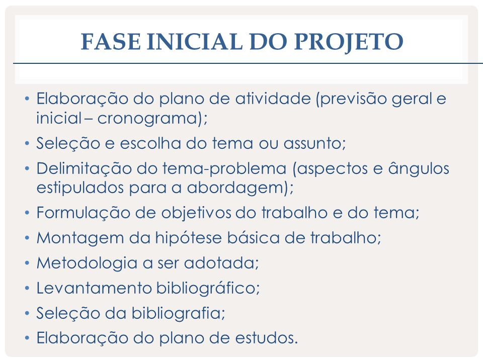 Fase inicial do projeto