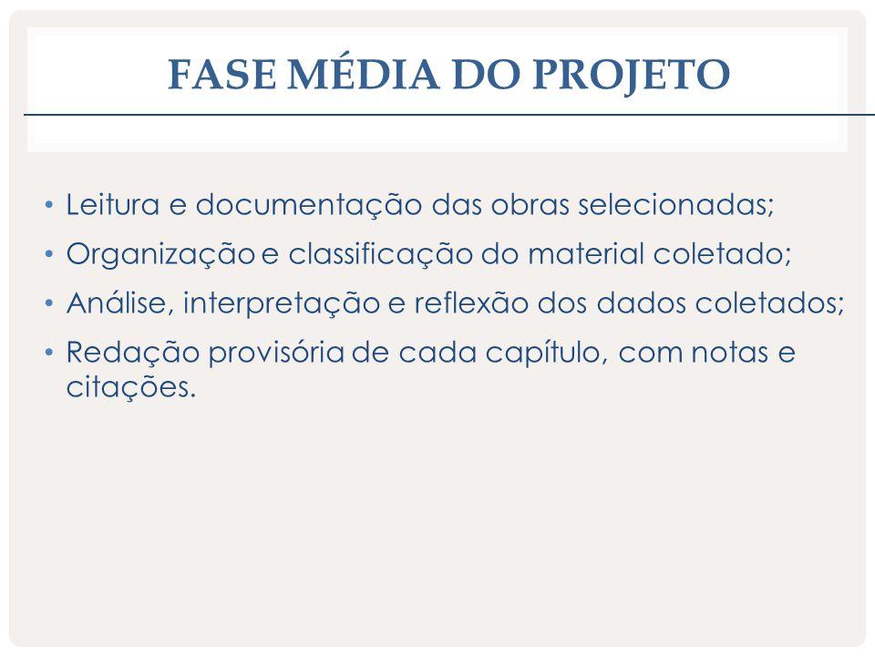 Fase média do projeto Leitura e documentação das obras selecionadas;