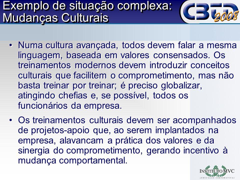 Exemplo de situação complexa: Mudanças Culturais
