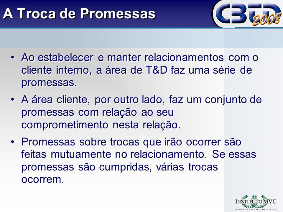 A Troca de Promessas Ao estabelecer e manter relacionamentos com o cliente interno, a área de T&D faz uma série de promessas.