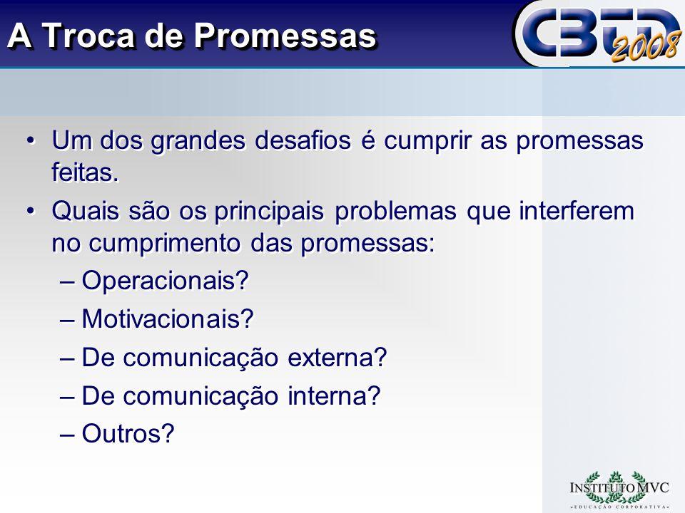A Troca de Promessas Um dos grandes desafios é cumprir as promessas feitas.