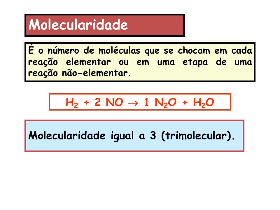 Molecularidade H2 + 2 NO  1 N2O + H2O