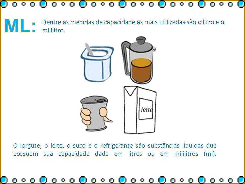 ML: Dentre as medidas de capacidade as mais utilizadas são o litro e o mililitro.