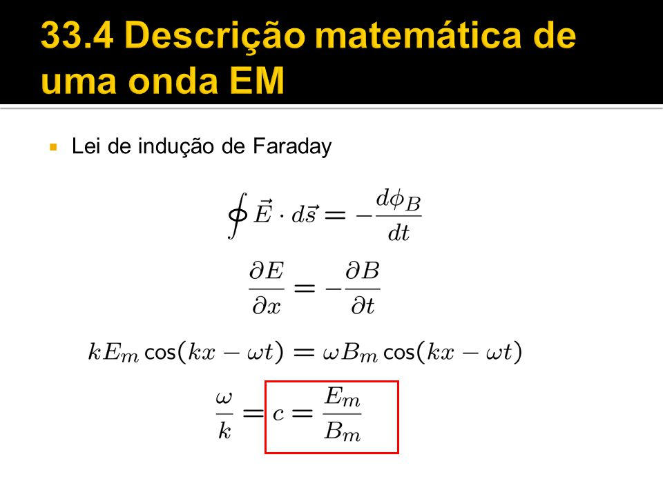 33.4 Descrição matemática de uma onda EM