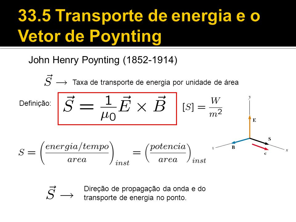 33.5 Transporte de energia e o Vetor de Poynting