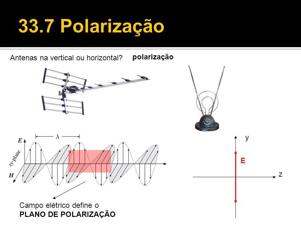 33.7 Polarização Antenas na vertical ou horizontal polarização y E z
