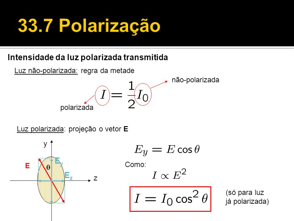 33.7 Polarização Intensidade da luz polarizada transmitida Ey Ez