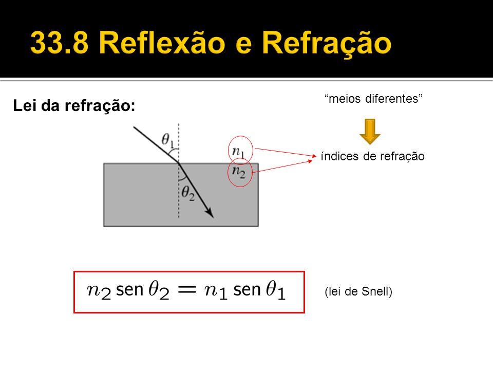 33.8 Reflexão e Refração Lei da refração: meios diferentes