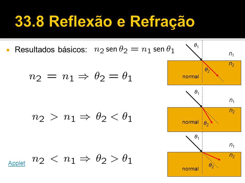 33.8 Reflexão e Refração Resultados básicos: q1 n1 n2 q2 q1 n1 n2 q2