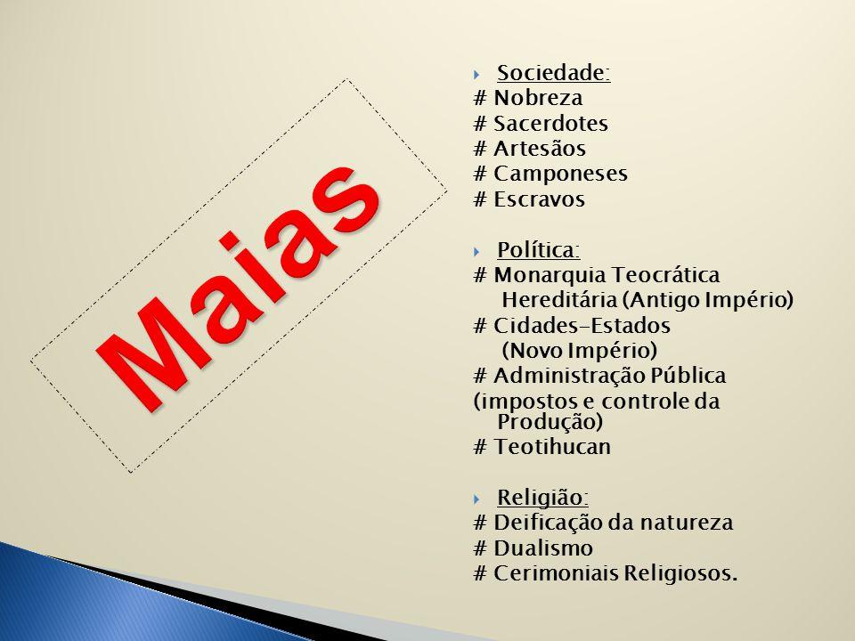 Maias Sociedade: # Nobreza # Sacerdotes # Artesãos # Camponeses