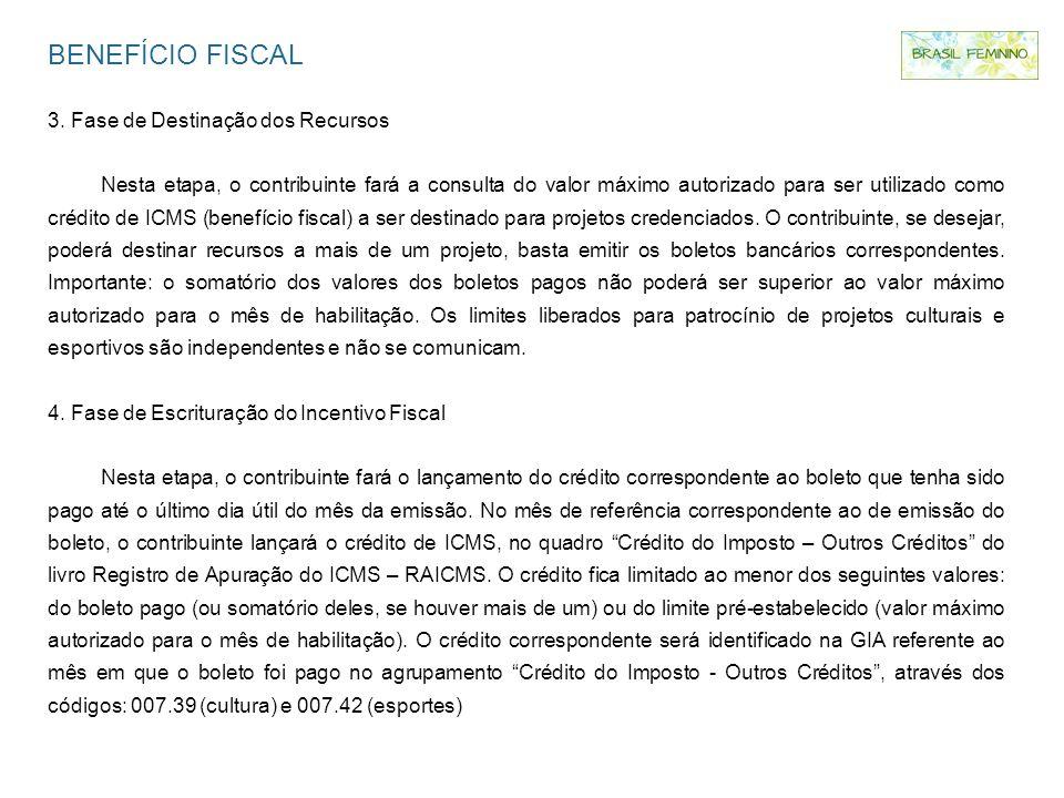 BENEFÍCIO FISCAL 3. Fase de Destinação dos Recursos