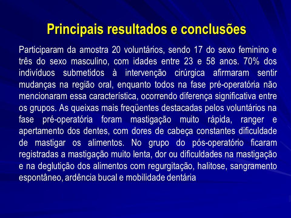 Principais resultados e conclusões
