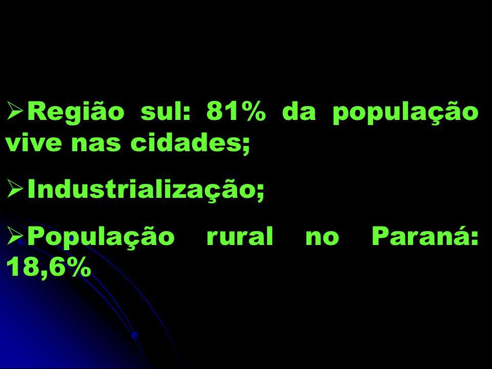 Região sul: 81% da população vive nas cidades;