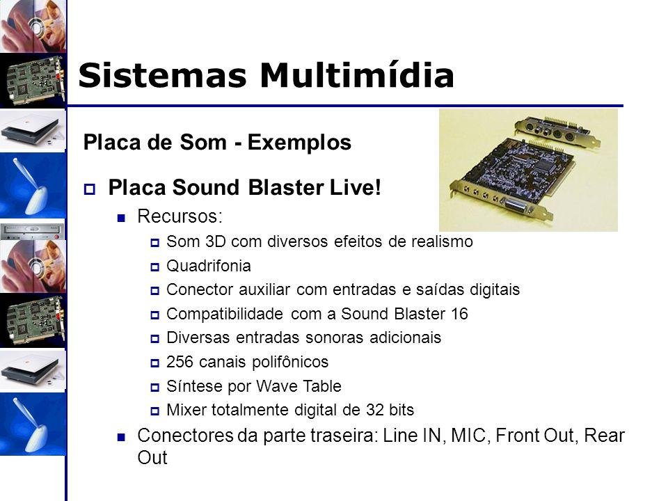 Sistemas Multimídia Placa de Som - Exemplos Placa Sound Blaster Live!