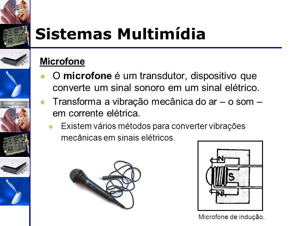 Sistemas Multimídia Microfone. O microfone é um transdutor, dispositivo que converte um sinal sonoro em um sinal elétrico.