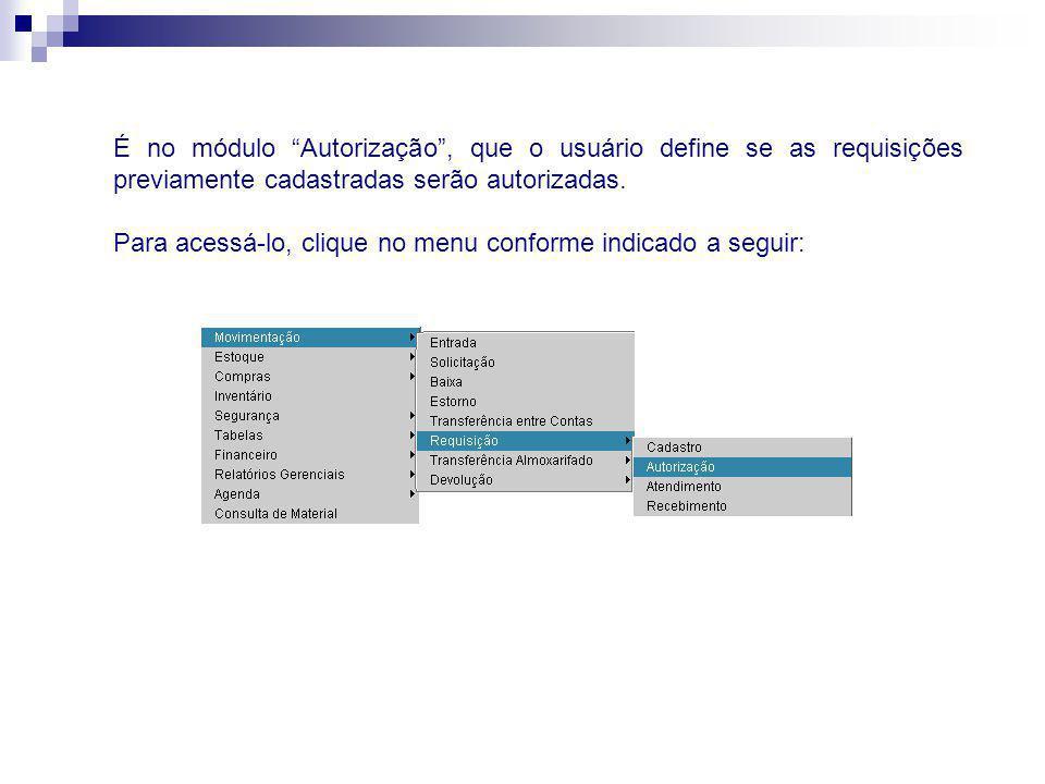 É no módulo Autorização , que o usuário define se as requisições previamente cadastradas serão autorizadas.