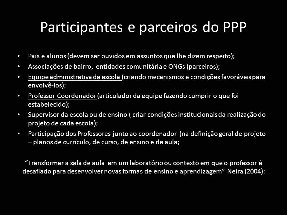 Participantes e parceiros do PPP
