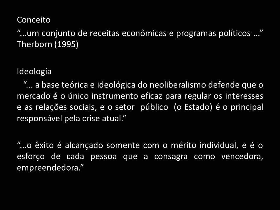 Conceito . um conjunto de receitas econômicas e programas políticos