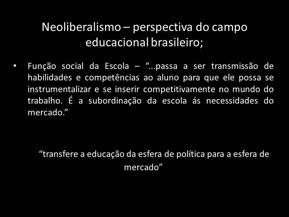 transfere a educação da esfera de política para a esfera de mercado