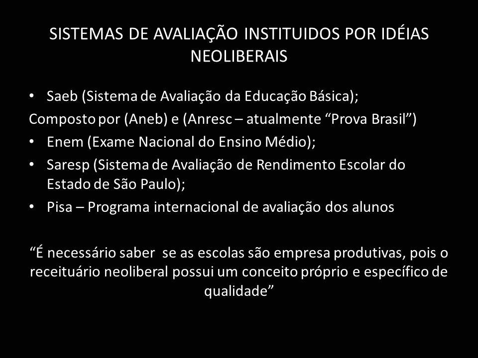 SISTEMAS DE AVALIAÇÃO INSTITUIDOS POR IDÉIAS NEOLIBERAIS