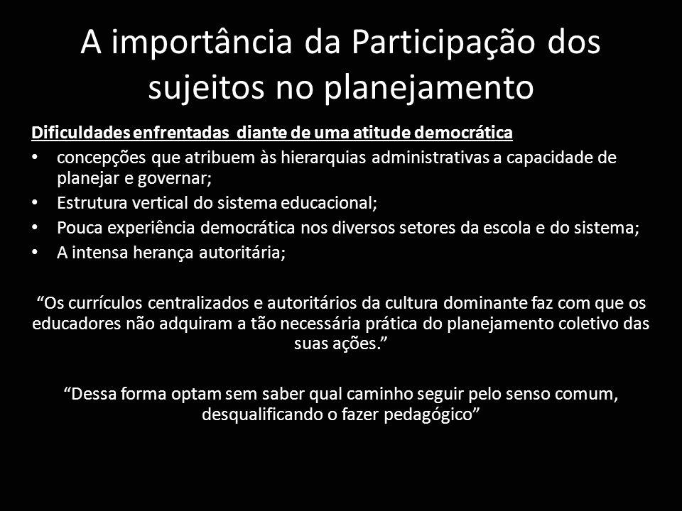 A importância da Participação dos sujeitos no planejamento