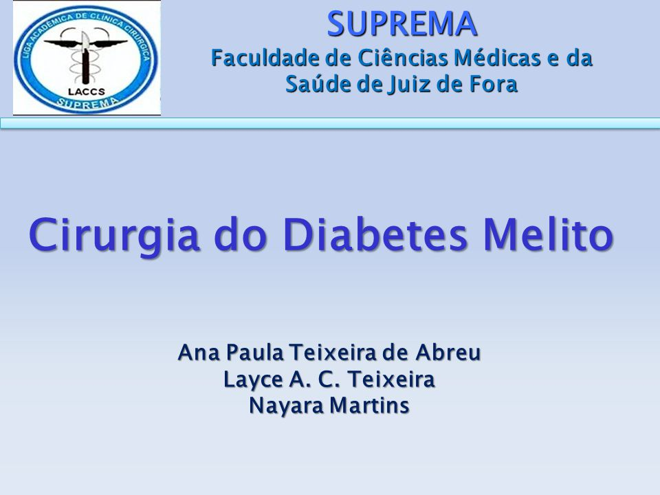 Cirurgia do Diabetes Melito