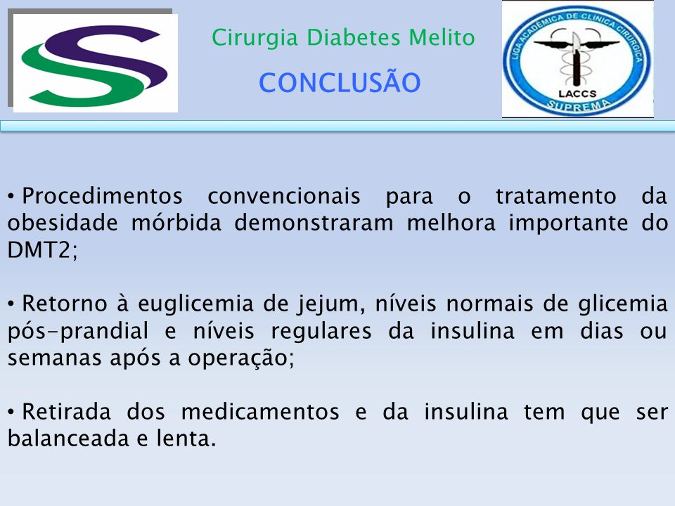 CONCLUSÃO Cirurgia Diabetes Melito