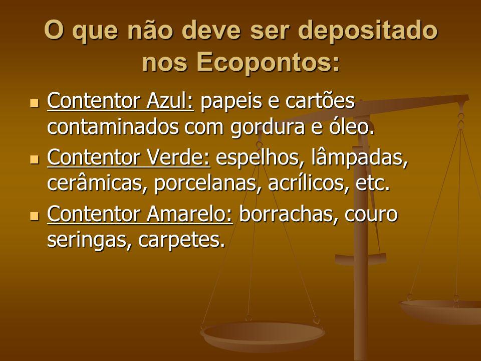 O que não deve ser depositado nos Ecopontos: