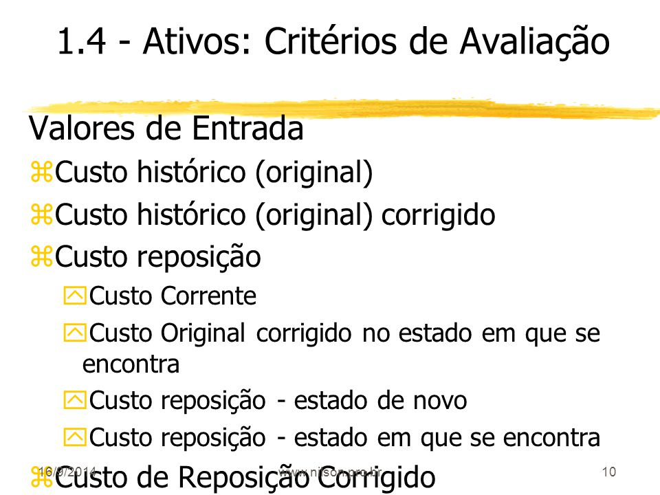 1.4 - Ativos: Critérios de Avaliação