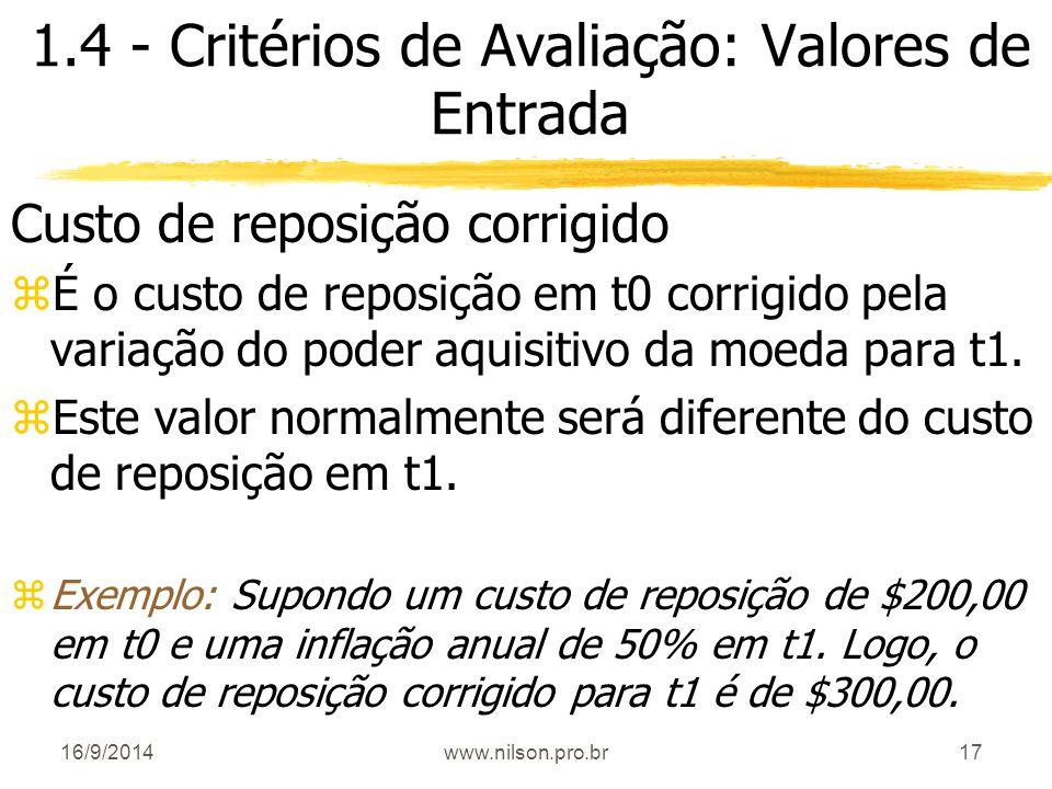 1.4 - Critérios de Avaliação: Valores de Entrada