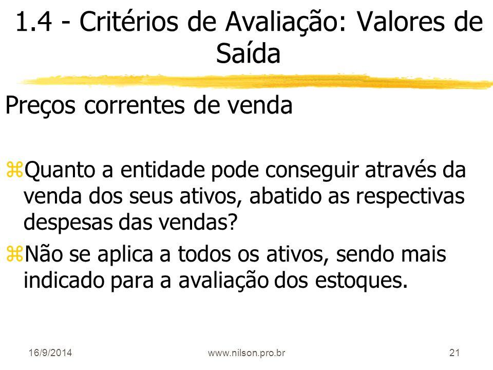 1.4 - Critérios de Avaliação: Valores de Saída