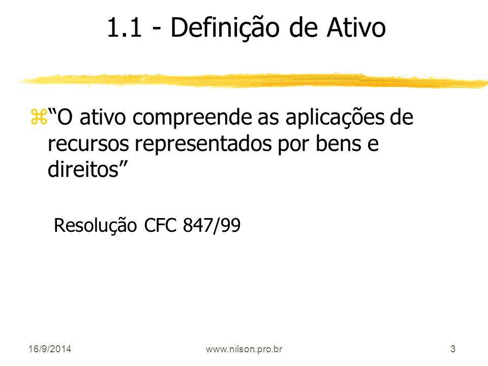 1.1 - Definição de Ativo O ativo compreende as aplicações de recursos representados por bens e direitos