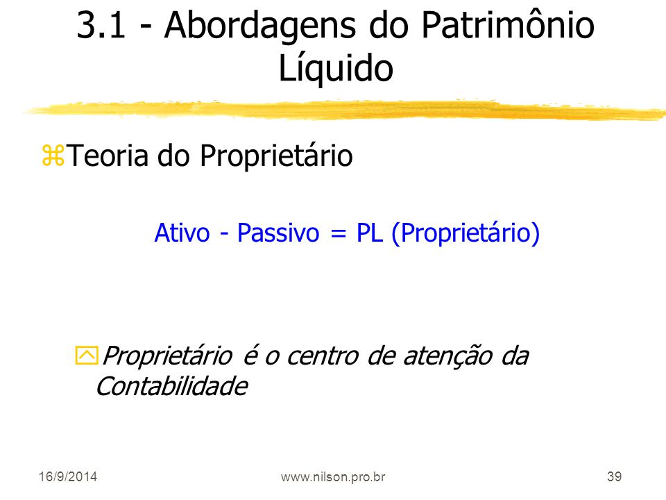 3.1 - Abordagens do Patrimônio Líquido