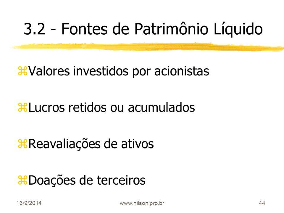 3.2 - Fontes de Patrimônio Líquido