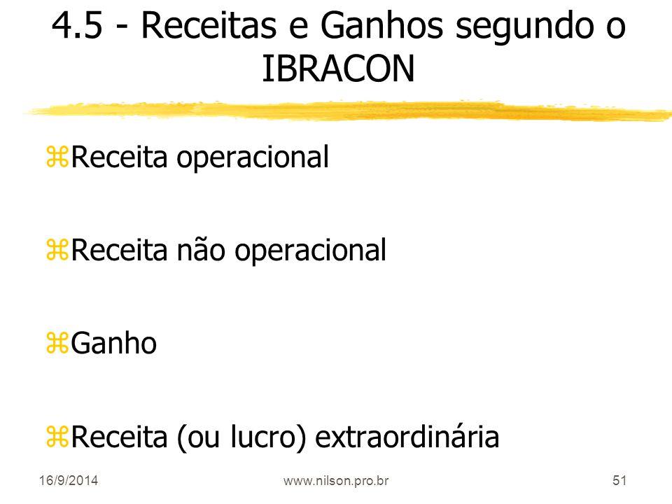 4.5 - Receitas e Ganhos segundo o IBRACON