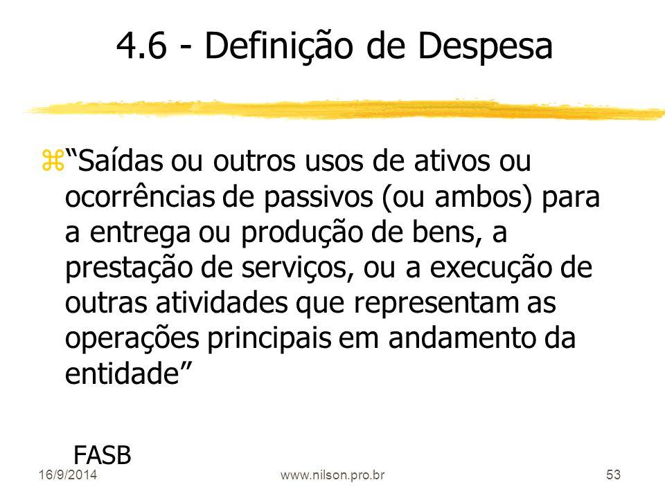 4.6 - Definição de Despesa