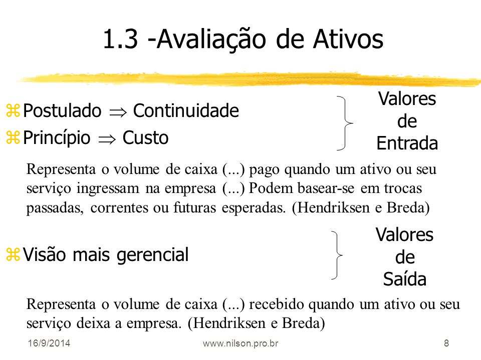 1.3 -Avaliação de Ativos Valores Postulado  Continuidade de
