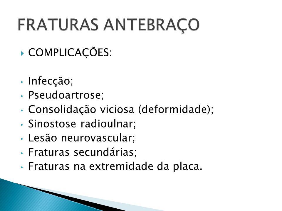 FRATURAS ANTEBRAÇO COMPLICAÇÕES: Infecção; Pseudoartrose;