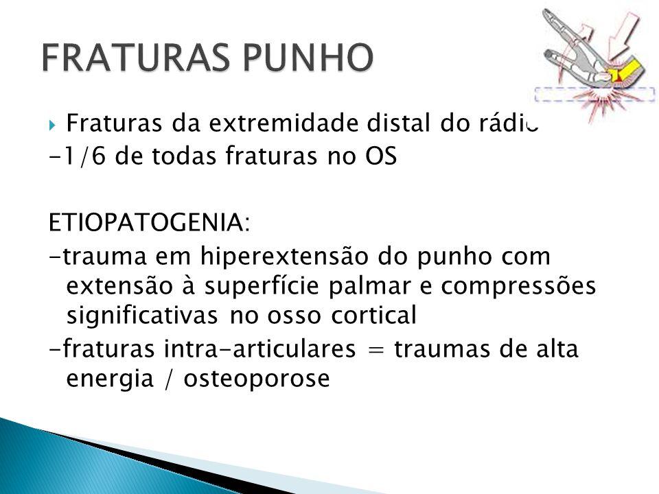 FRATURAS PUNHO Fraturas da extremidade distal do rádio