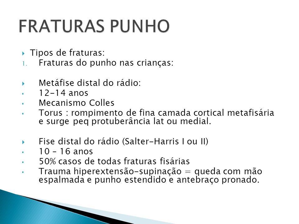 FRATURAS PUNHO Tipos de fraturas: Fraturas do punho nas crianças: