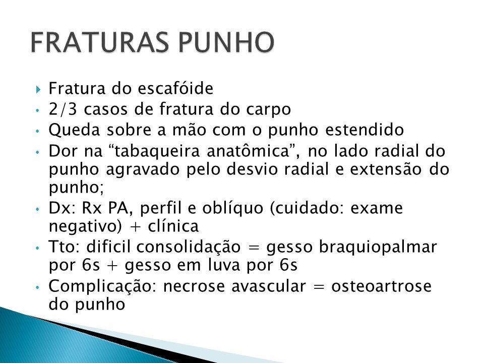 FRATURAS PUNHO Fratura do escafóide 2/3 casos de fratura do carpo