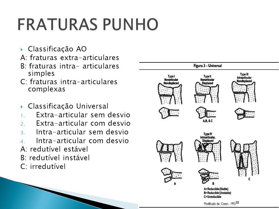 FRATURAS PUNHO Classificação AO A: fraturas extra-articulares