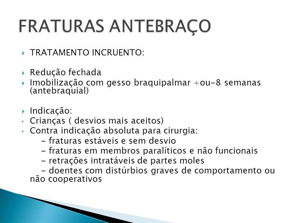 FRATURAS ANTEBRAÇO TRATAMENTO INCRUENTO: Redução fechada