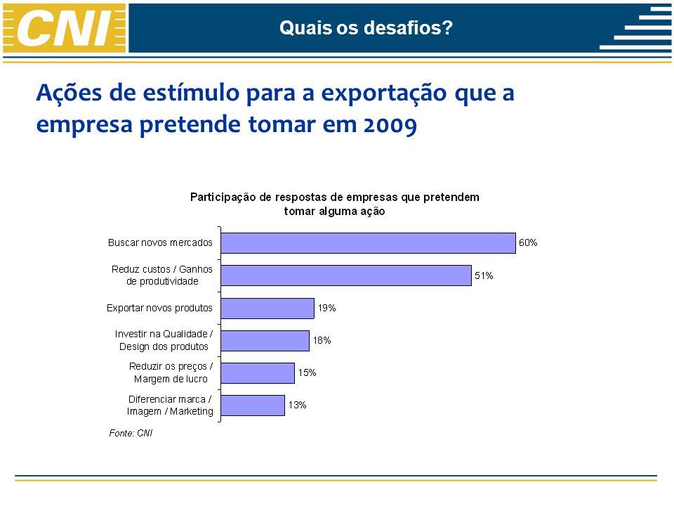 Quais os desafios Ações de estímulo para a exportação que a empresa pretende tomar em 2009