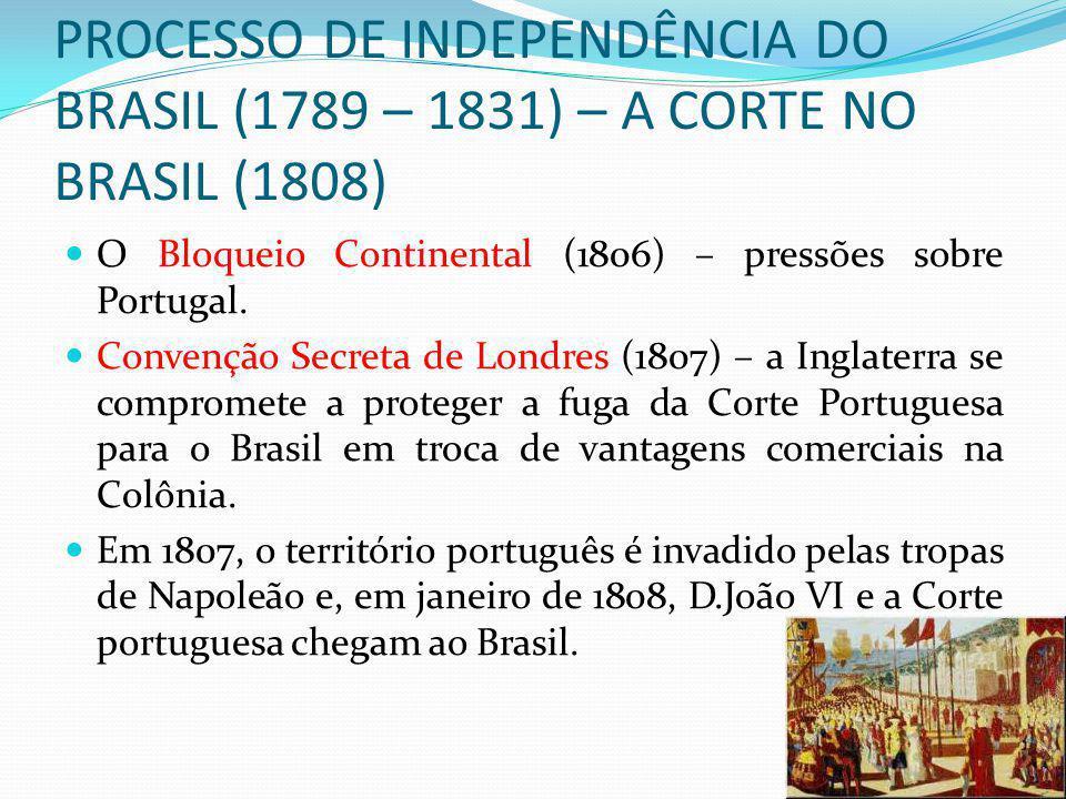 PROCESSO DE INDEPENDÊNCIA DO BRASIL (1789 – 1831) – A CORTE NO BRASIL (1808)